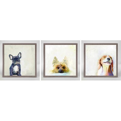 Best Friends by Cathy Walters 3 Piece Framed Painting Print on Canvas Set Dog Theme: Small but Mighty