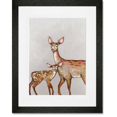 'Deer with Fawn' by Eli Halpin Framed Painting Print