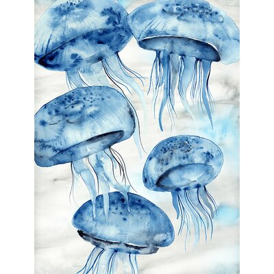 Coastal Watercolors - Jellyfish by Shannon Newlin Graphic Art on Canvas