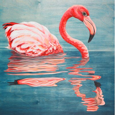 "Flamingo Reflections"" by Karin Grow Painting Print on Wrapped Canvas Size: 14"" H x 14"" W x 1.5"" D NB50296"