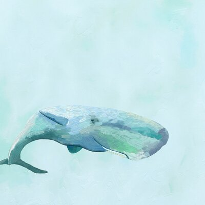 Swimming Whale by Cathy Walters Painting Print on Wrapped Canvas