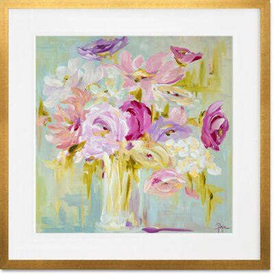 Pastel Bouquet by Susan Pepe Framed Painting Print in Pink