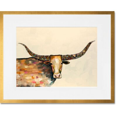 Longhorn Geode - Neutral by Eli Halpin Framed Painting Print in Beige