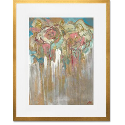 Flowers with Gold by Siri Selle Framed Painting Print in Blue