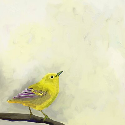 Yellow Bird on Branch by Cathy Walters Painting Print on Wrapped Canvas Size: 14 H x 14 W x 1.5 D