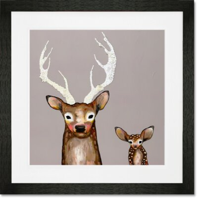 'Frosted Buck and Baby' by Eli Halpin Framed Painting Print
