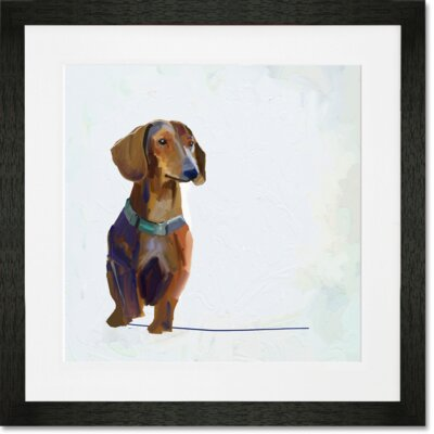 'Best Friend - Dachshund' by Cathy Walters Framed Painting Print Frame Color: Black