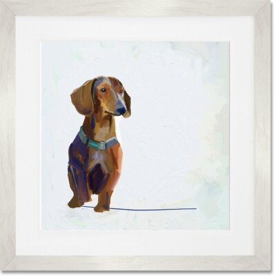 'Best Friend - Dachshund' by Cathy Walters Framed Painting Print Frame Color: White