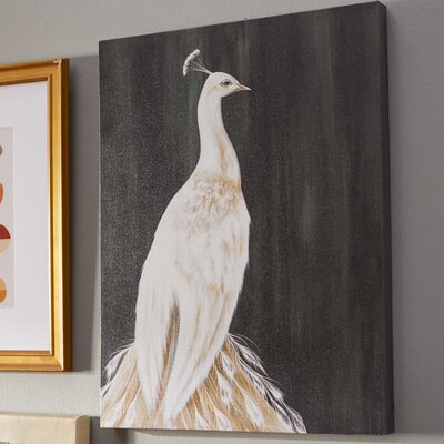 'White Peacock' by Karin Grow Painting Print on Wrapped Canvas