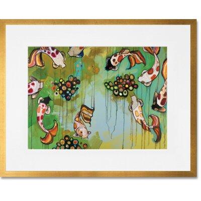 'Koi Fish' Framed Graphic Art Print Frame Color: Gold Leaf, Size: 13