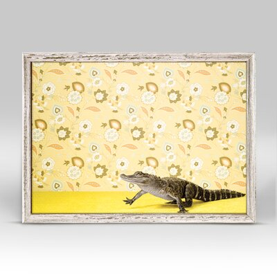 'Alligator On Yellow' Framed Photographic Print on Canvas
