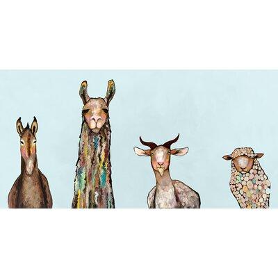 'Donkey, Llama, Goat, Sheep' on Blue Background Print on Wrapped Canvas Size: 12