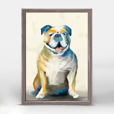 Bulldog on Yellow Background Framed Print on Canvas EBND4751 39879913