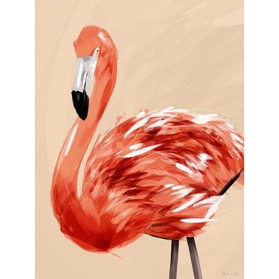 'Flocks & Herds - The Flamingo' Acrylic Painting Print Size: 12.5