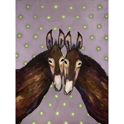 'Donkey Duo' Acrylic Painting Print Size: 12.5