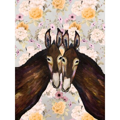 'Donkey Duo - Floral' Acrylic Painting Print