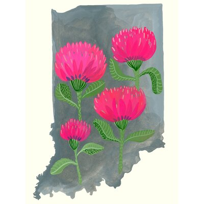 'State Flowers - Indiana' Acrylic Painting Print Size: 12.5
