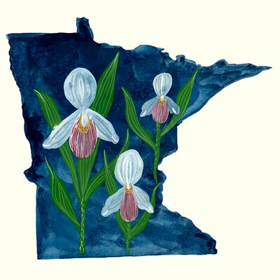 'State Flowers - Minnesota' Acrylic Painting Print Size: 10