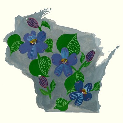 'State Flowers - Wisconsin' Acrylic Painting Print Size: 10