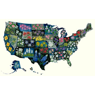 'State Flower United States' Acrylic Painting Print