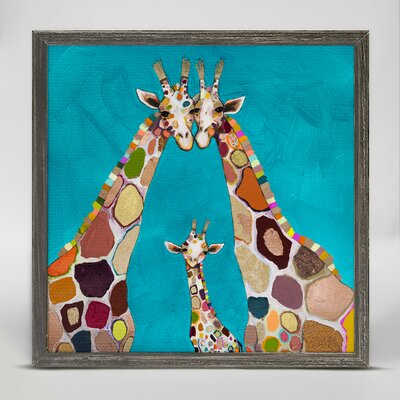 'Giraffe Family In Turquoise' Framed Acrylic Painting Print on Canvas VRKG4951 40412175