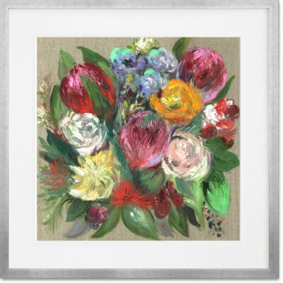 'Garden Floral' Square Framed Acrylic Painting Print Size: 14