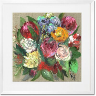 'Garden Floral' Framed Paper Acrylic Painting Print Size: 20