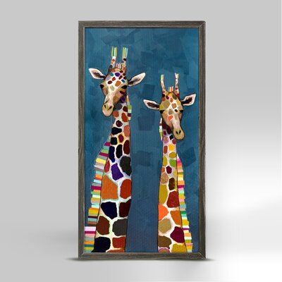 'Two Giraffes on Blue' Framed Acrylic Painting Print on Canvas