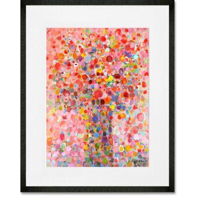 'Floral Bouquet Pink' Framed Acrylic Painting Print Format: Black