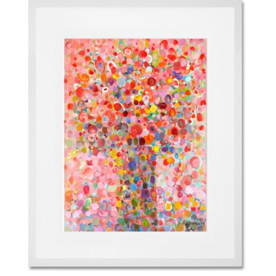 'Floral Bouquet Pink' Framed Acrylic Painting Print Format: White