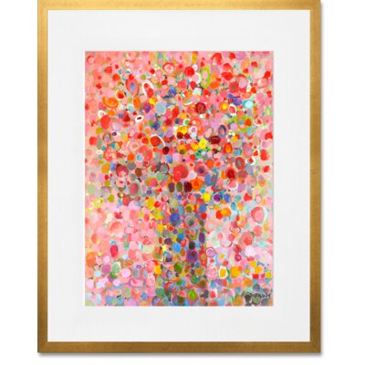 'Floral Bouquet Pink' Framed Acrylic Painting Print Format: Gold