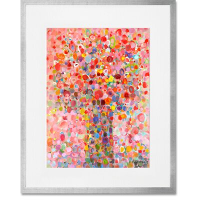 'Floral Bouquet Pink' Framed Acrylic Painting Print