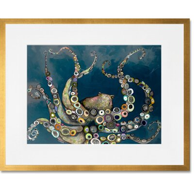 'Octopus in the Deep Blue Sea' Framed Acrylic Painting Print Format: Gold Frame, Size: 13