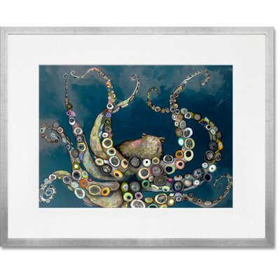 'Octopus in the Deep Blue Sea' Framed Acrylic Painting Print Format: Silver Frame, Size: 13