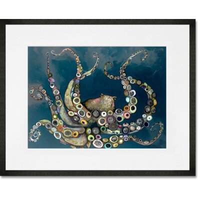'Octopus in the Deep Blue Sea' Framed Acrylic Painting Print Format: Black Frame, Size: 13