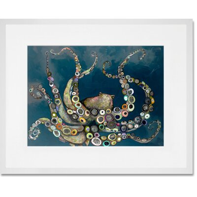 'Octopus in the Deep Blue Sea' Framed Acrylic Painting Print Format: White Frame, Size: 13