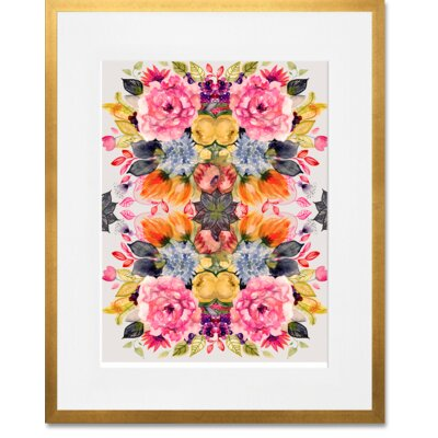 'Detailed Floral II' Framed Acrylic Painting Print Format: Gold Frame, Size: 15