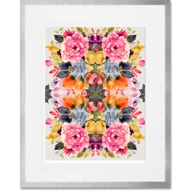 'Detailed Floral II' Framed Acrylic Painting Print Format: Silver Frame, Size: 15