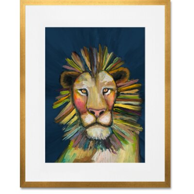 'Wild Lion On Blue' Framed Acrylic Painting Print Format: Gold Framed, Size: 15