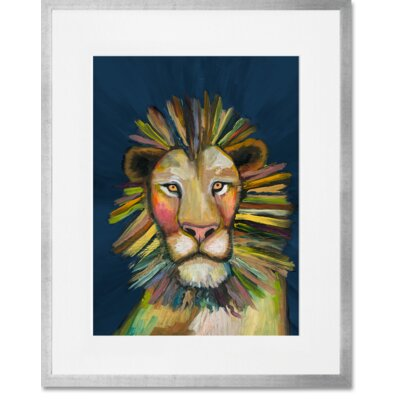 'Wild Lion On Blue' Framed Acrylic Painting Print Format: Silver Framed, Size: 15