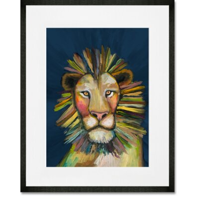 'Wild Lion On Blue' Framed Acrylic Painting Print Format: Black Framed, Size: 15