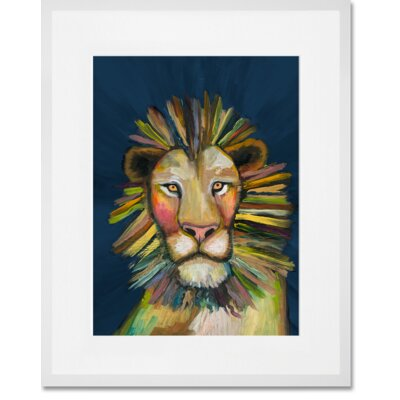 'Wild Lion On Blue' Framed Acrylic Painting Print Format: White Framed, Size: 15