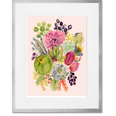 'Succulent Bouquet I' Framed Acrylic Painting Print Format: Silver Frame, Size: 15