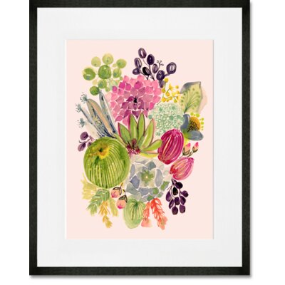 'Succulent Bouquet I' Framed Acrylic Painting Print Format: Black Frame, Size: 15