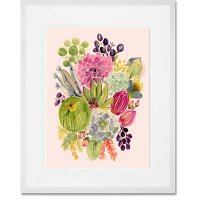 'Succulent Bouquet I' Framed Acrylic Painting Print Format: White Frame, Size: 15