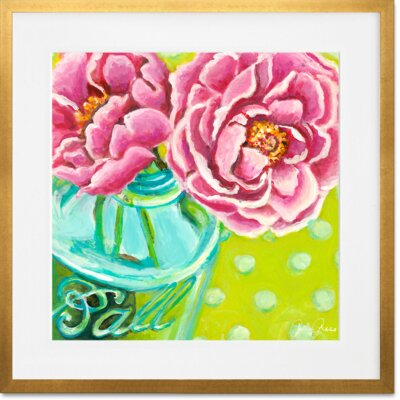 'Ball Jar Peonies' Framed Acrylic Painting Print Format: Gold Frame, Size: 14