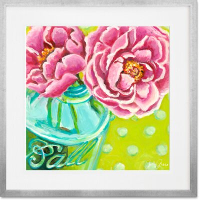 'Ball Jar Peonies' Framed Acrylic Painting Print Format: Silver Frame, Size: 14