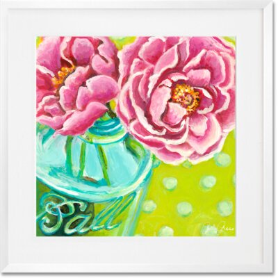 'Ball Jar Peonies' Framed Acrylic Painting Print Format: White Frame, Size: 14