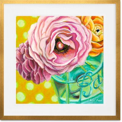 'Ball Jar Ranunculus' Framed Acrylic Painting Print Format: Gold Framed, Size: 14