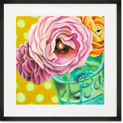 'Ball Jar Ranunculus' Framed Acrylic Painting Print